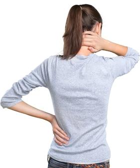 Femme souffrant de douleurs au cou isolé sur fond blanc
