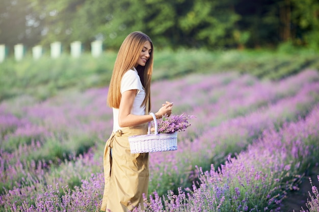 Femme souriante marchant avec champ de lavande panier
