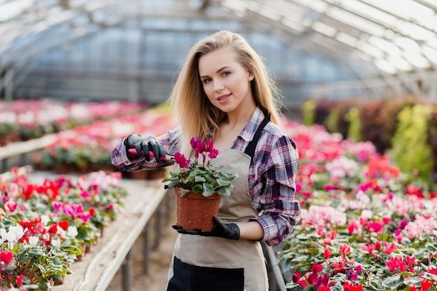 Femme, tablier, tenue, pot fleur