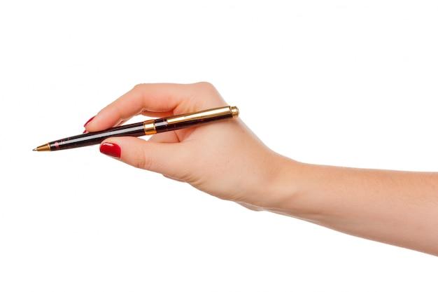 Femme tenant un crayon isolé
