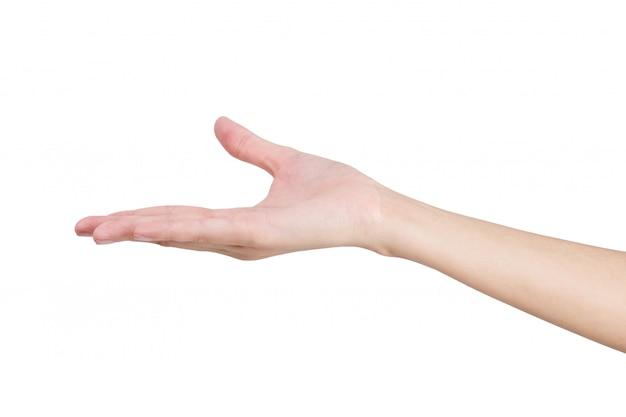 Femme tenant à la main vide avec espace ouvert isolé sur blanc