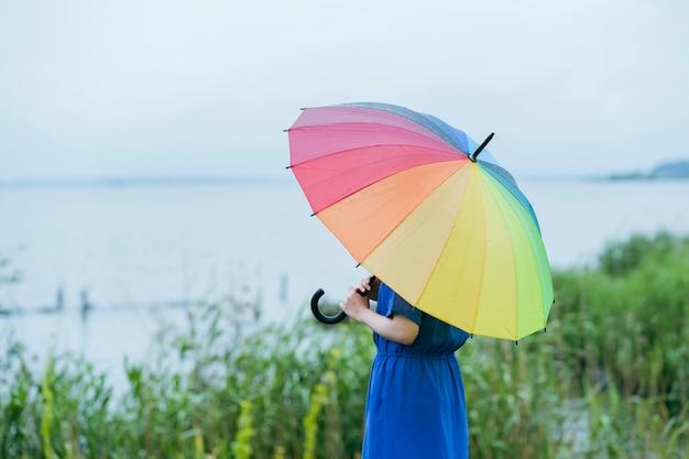Une femme tenant un parapluie coloré sous la pluie