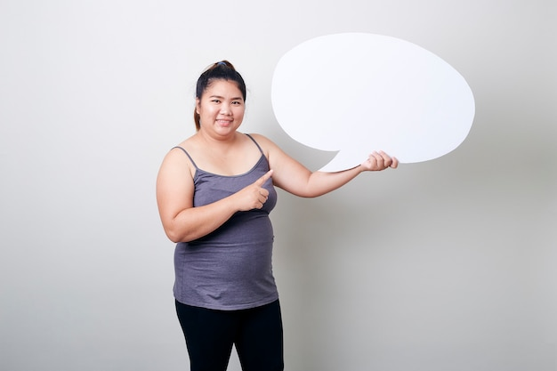 Femme, tenue, bulle discours