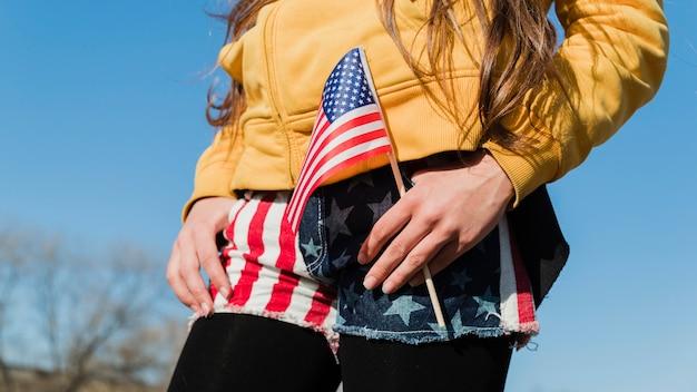 Femme, tenue, drapeau usa