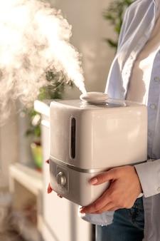 Femme, tenue, mains, fonctionnement, arôme, huile, humidificateur, ensoleillé, salle humidification de l'air dans l'appartement