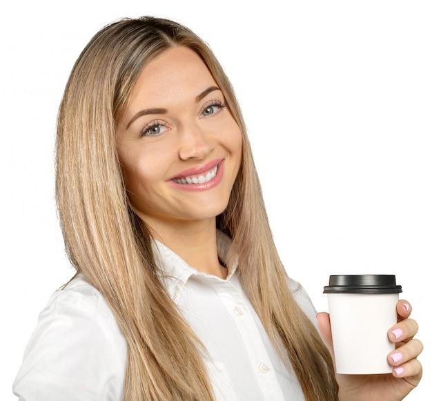 Femme, tenue, tasse papier, de, café chaud