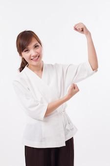 Femme de thérapeute spa confiante, forte et heureuse