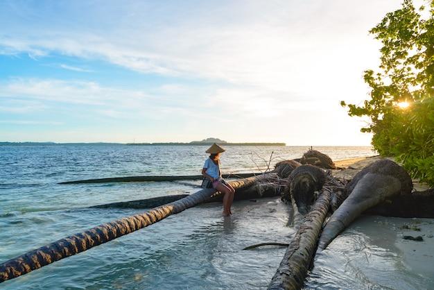 Femme, traditionnel, asiatique, chapeau, délassant, sur, plage tropicale, séance, sur, noix coco, palmier