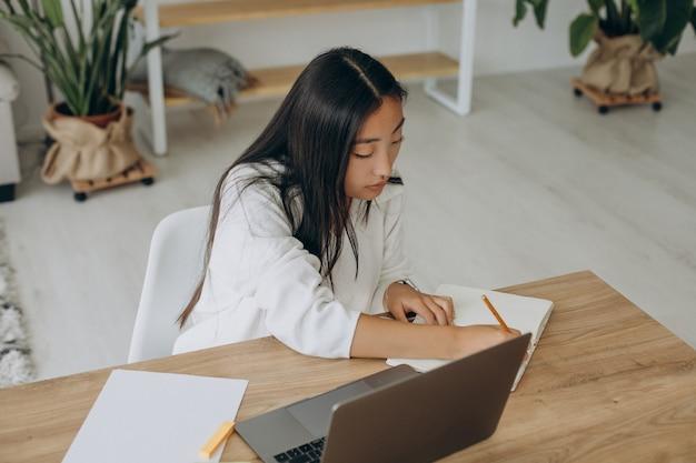 Femme travaillant sur ordinateur au bureau de la maison