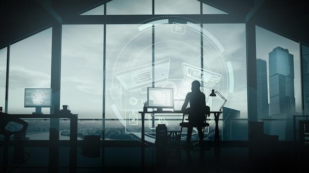 Une femme travaille à la maison à l'ordinateur.