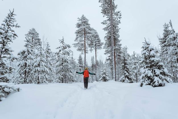 Femme trekking à travers une laponie couverte de neige, finlande
