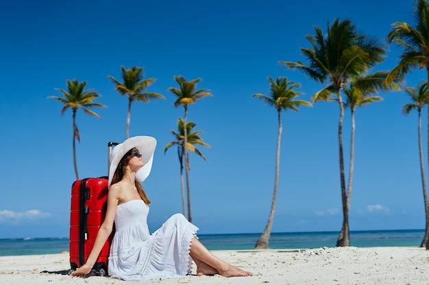 Femme, vacances, plage