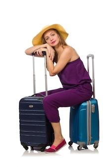 Femme avec valise isolé sur blanc