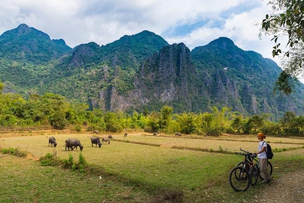 Femme, vélo montagne, sur, chemin terre, dans, vang, vieng, laos, asie