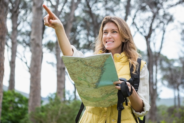Femme vérifiant la carte