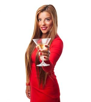 Femme avec un verre