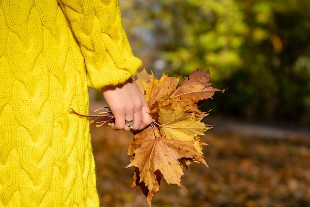La femme à la veste jaune tient des feuilles colorées dans ses mains.