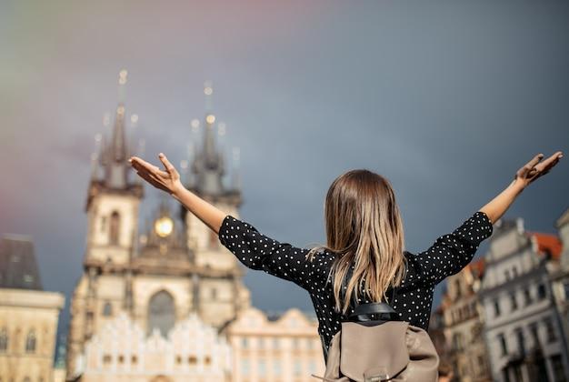 Femme, vieux, ville, prague, république tchèque