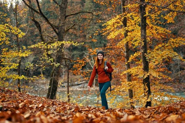 Femme voyage dans la forêt d'automne dans la nature paysage feuilles jaunes sur les arbres tourisme