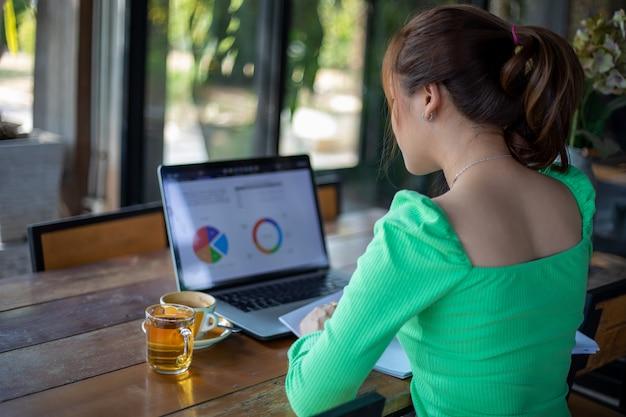 Les femmes d'affaires asiatiques souriant et utilisant un ordinateur portable pour l'analyse des documents et le graphique du diagramme financier de travail et elle boit du café au café