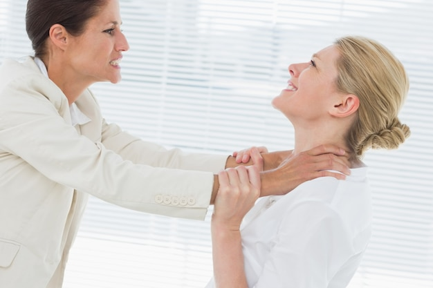 Femmes d'affaires ayant un combat violent au bureau