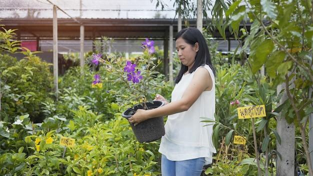 Les femmes asiatiques s'occupent des fleurs, des arbres dans la boutique de la pergola.