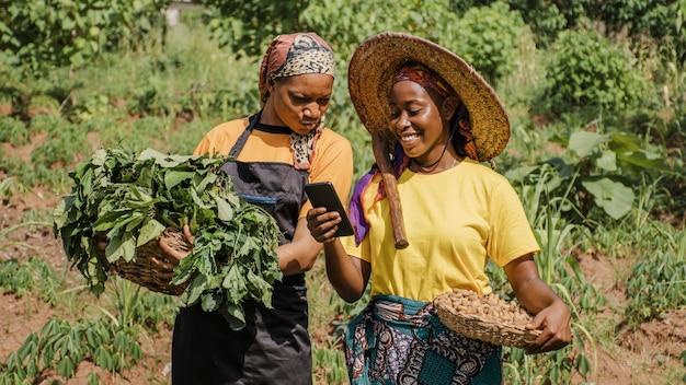 Les femmes de la campagne parcourant un téléphone ensemble