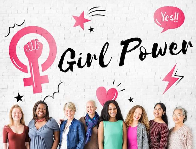 Les femmes girl power féminisme concept d'égalité des chances