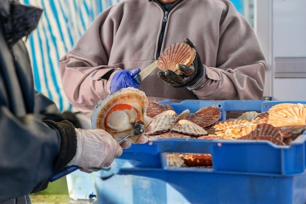 Les femmes ouvrent et nettoient les pétoncles à vendre lors d'une foire du hareng et de la coquille saint-jacques dans un port de dieppe