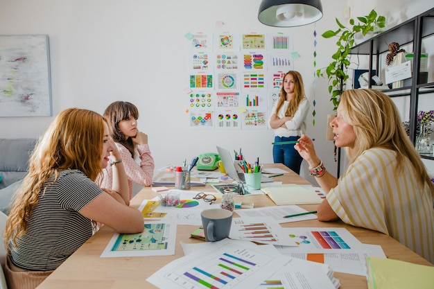 Femmes en présentation au bureau