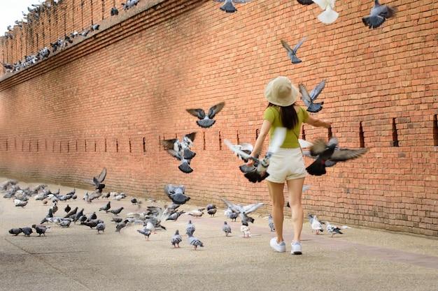 Les femmes touristes aiment marcher et à tha phae gate chiang mai ancienne muraille de la vieille ville