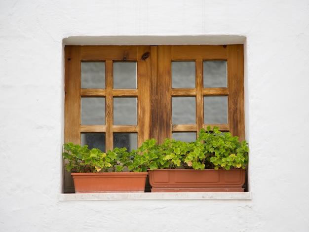 Fenêtre en bois à alberobello, italie