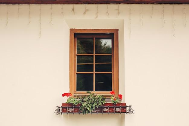 Fenêtre confortable avec des pots de fleurs rouges