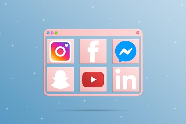 Fenêtre du navigateur avec les éléments d'icône du logo des médias sociaux 3d
