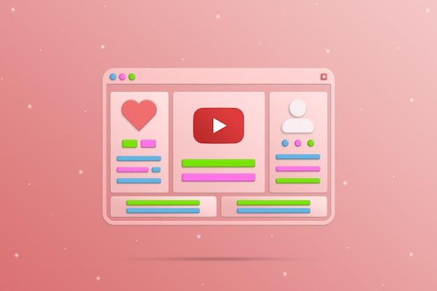 Fenêtre du navigateur avec éléments sociaux réseaux youtube profil social et activité de l'utilisateur 3d
