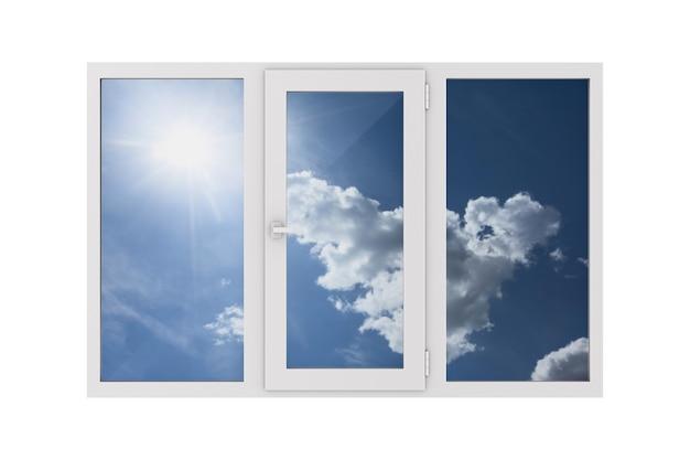 Fenêtre fermée sur fond blanc. illustration 3d isolée