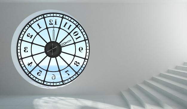 Fenêtre d'horloge ronde dans la chambre
