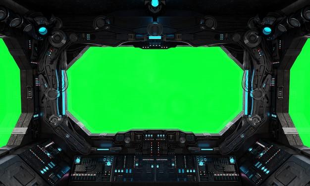 Fenêtre intérieure de vaisseau spatial grunge isolée