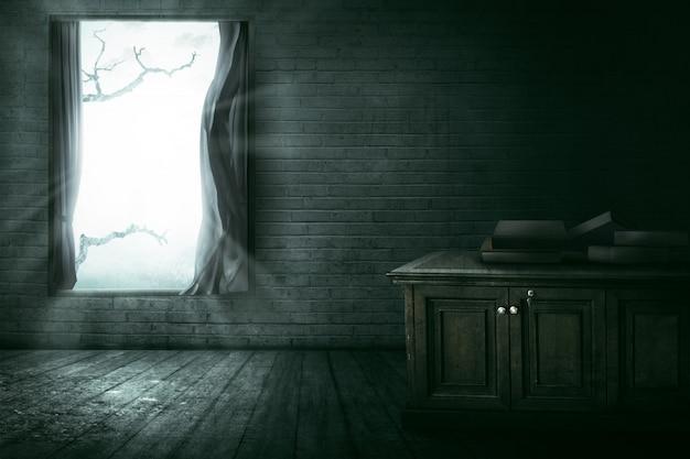 Fenêtre ouverte avec branche