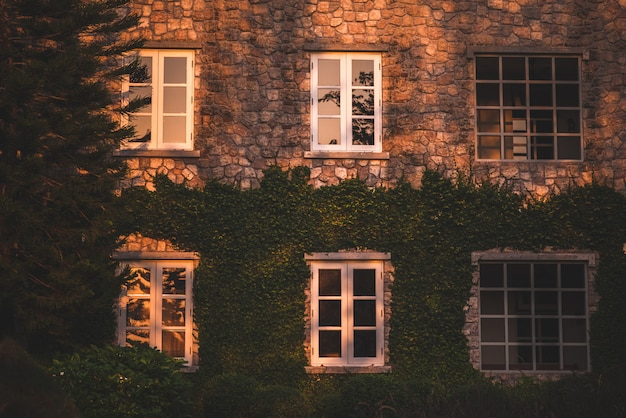 Fenêtre de style vintage, mur de la maison avec fenêtre fermée à gauche et détails.
