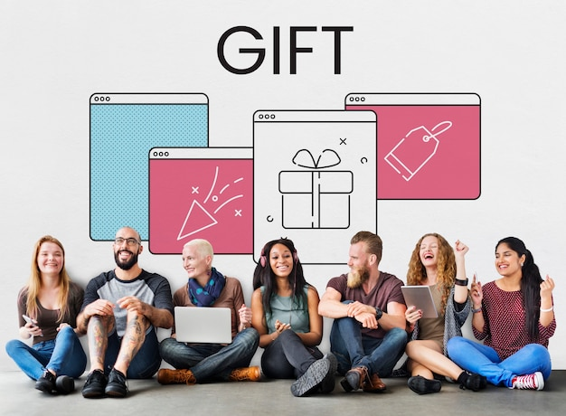 Fenêtre web boîte cadeau présente icône étiquette petard