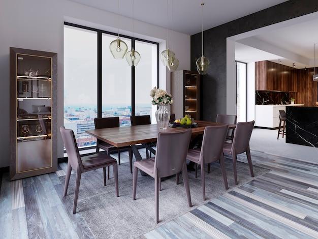 Fenêtres panoramiques dans la salle à manger de luxe avec table en bois et chaises en cuir à côté de la vitrine et des lampes suspendues design. rendu 3d