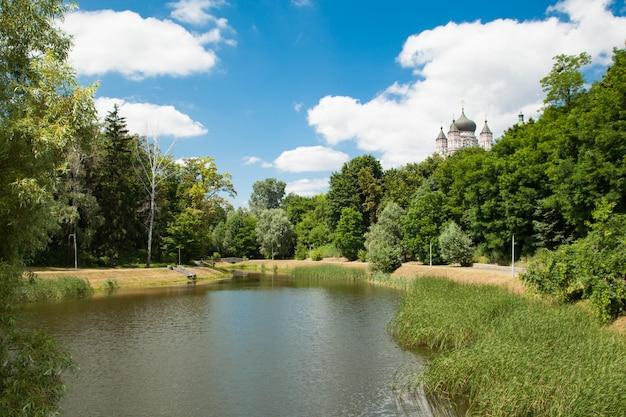 Feofania est le plus jeune jardin de kiev. étang en journée ensoleillée d'été