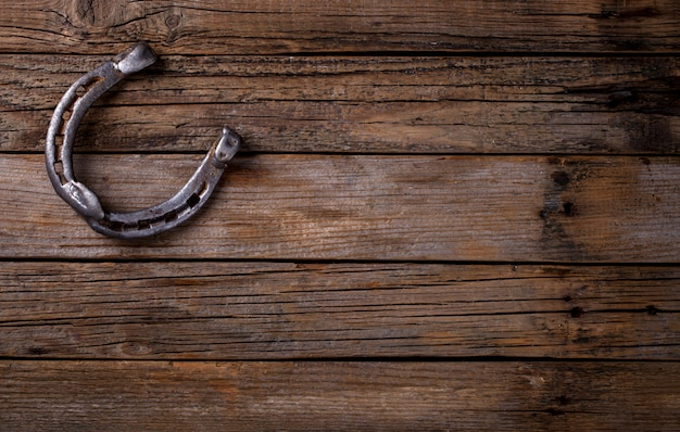 Fer à cheval en métal patiné fond en bois.