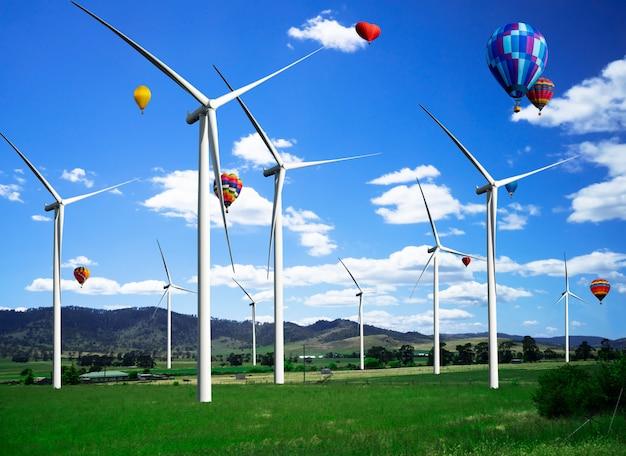 Ferme éolienne dans le magnifique paysage naturel.