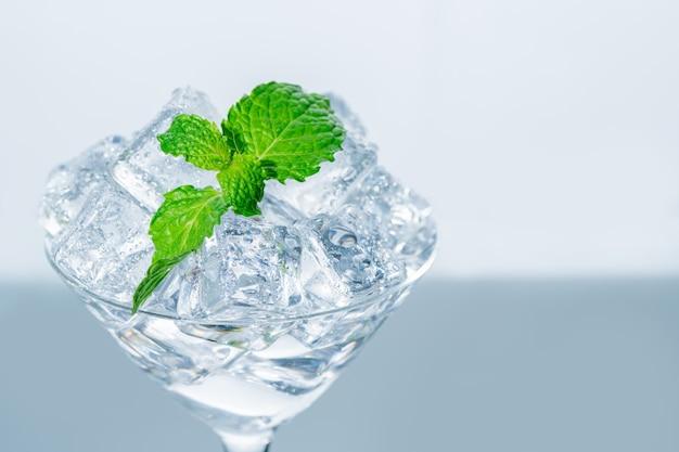 Fermé en haut de la feuille de menthe sur le cube de glace en verre