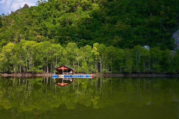Une ferme piscicole flottante sur l'île de langkawi en malaisie.