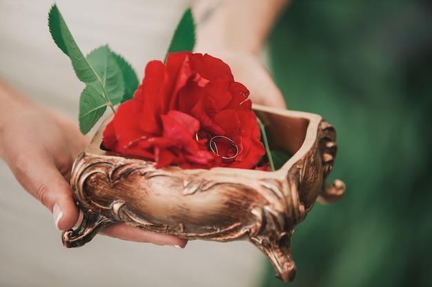 Fermer. rose rouge et anneaux de mariage entre les mains de la mariée