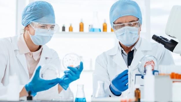 Fermer. des scientifiques en microbiologie étudient un nouveau type de bactéries. science et santé.
