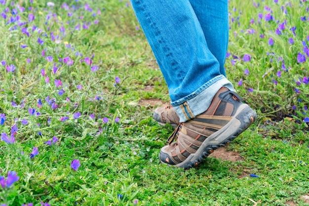Fermez les jambes de l'homme randonneur voyageur debout sur un chemin de montagne en terre dans la réserve naturelle sur un paysage de prairie verte. concept de voyage, d'aventure, de randonnée et de motivation